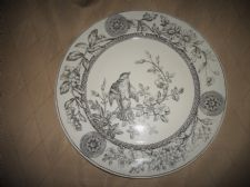 "ANTIQUE SALAD PLATE T.G. & F.B. BOOTHS c1886 RICHMOND BIRD MONOCHROME 9.25"" TGB"